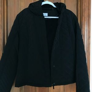 Calvin Klein black quilted jacket with zipper hood